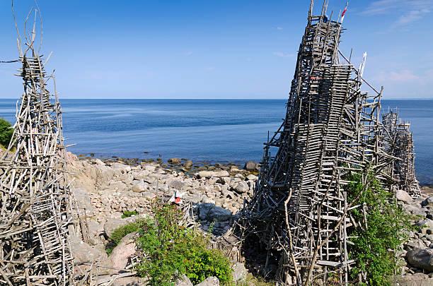 Nimis Ladonia wooden towers stock photo