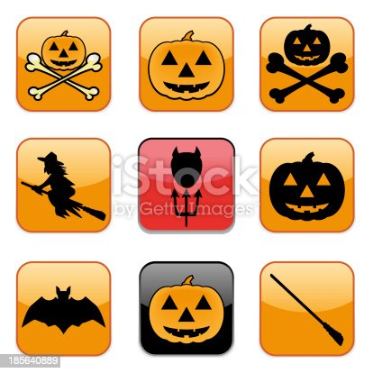 istock Nine Apps Icon for Halloween as illustration 185640889