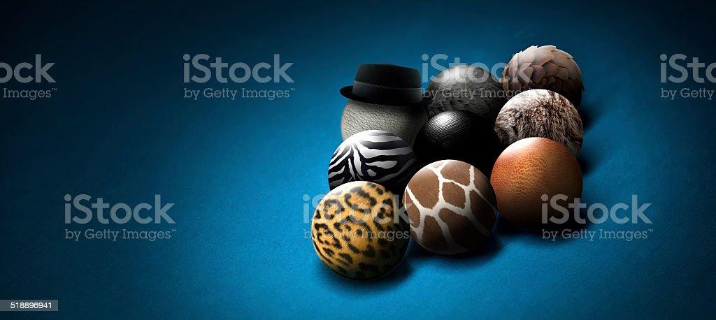 nine ball animal band stock photo