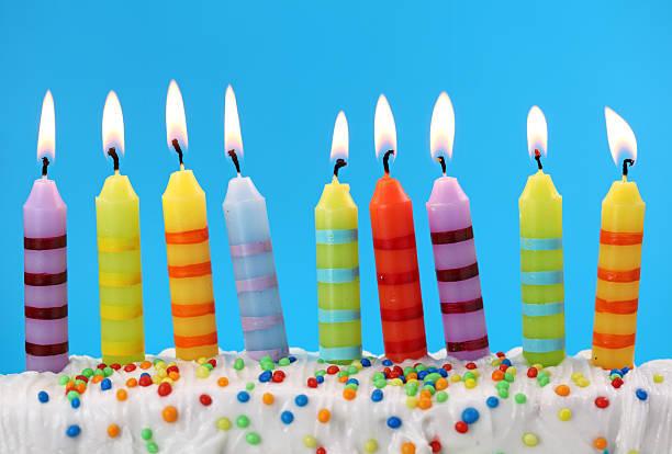 Nine birthday candles stock photo