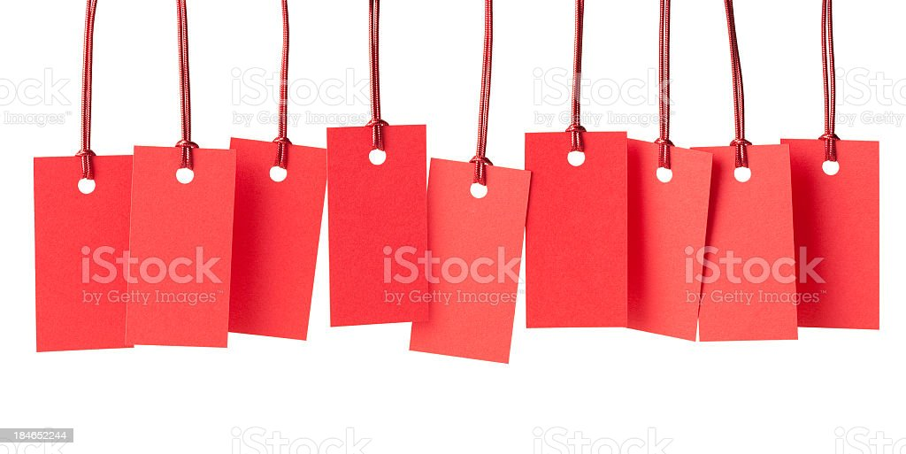 Nine blank red price labels royalty-free stock photo
