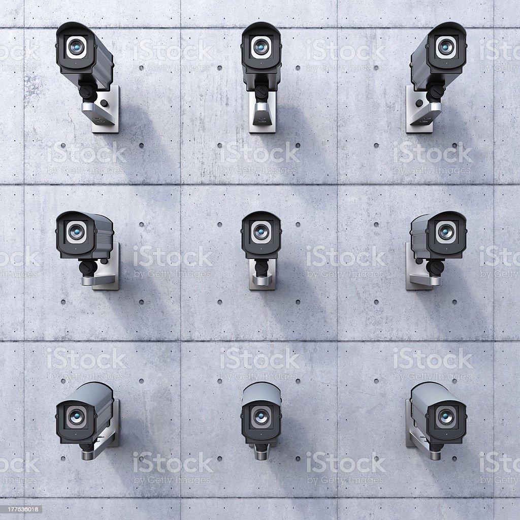 Nine CCTV cameras stock photo