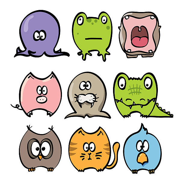 nine color sketches young animals - hippo tail stock photos and pictures