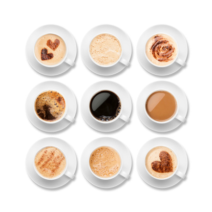 Every type of coffee available on a white background