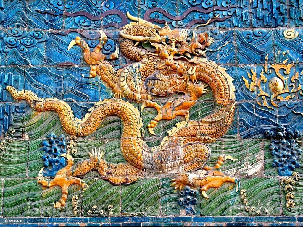 Nine Dragon Screen royalty-free stock photo