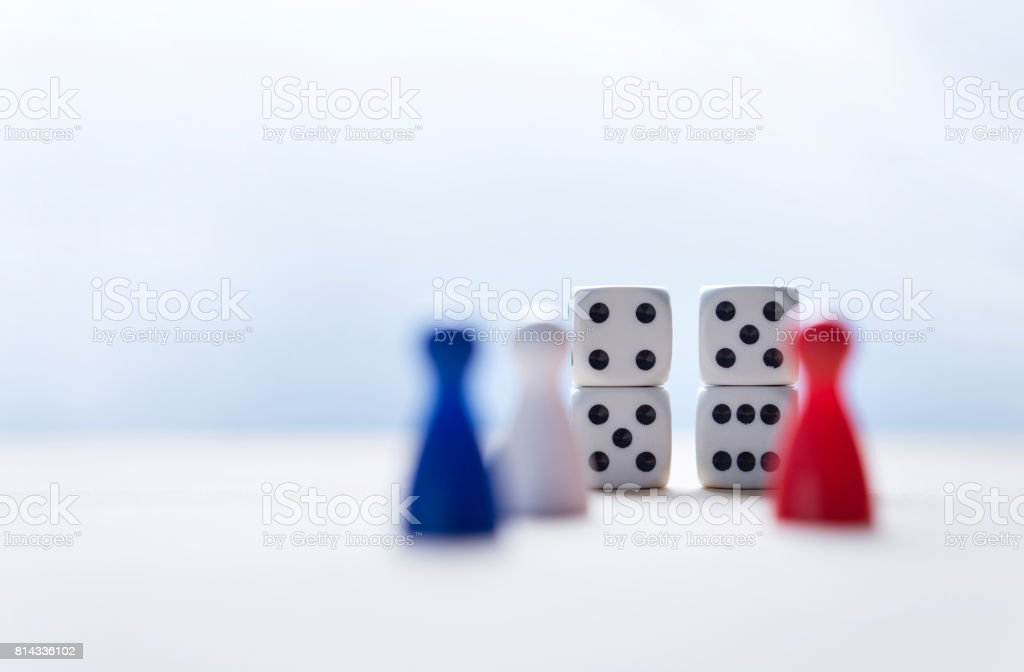 Nine eleven from dice numbers and board game pawns with USA flag colors. 9-11 concept. stock photo