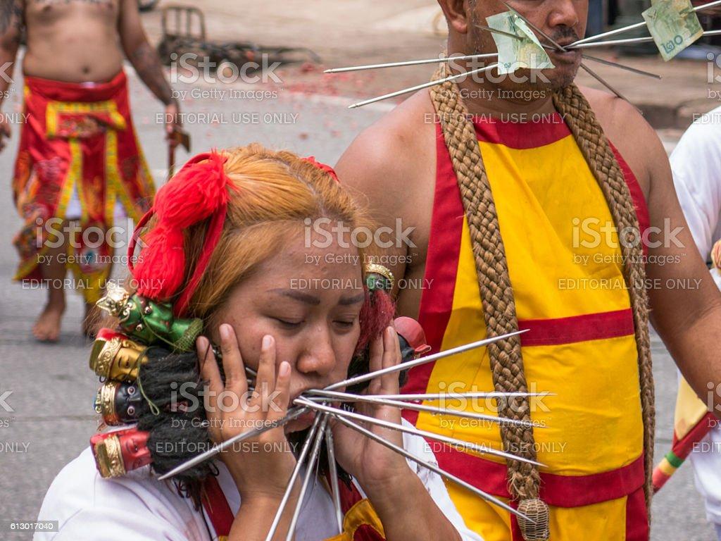 Nine Emperor Gods Body Modification Vegetarian Festival Thailand stock photo