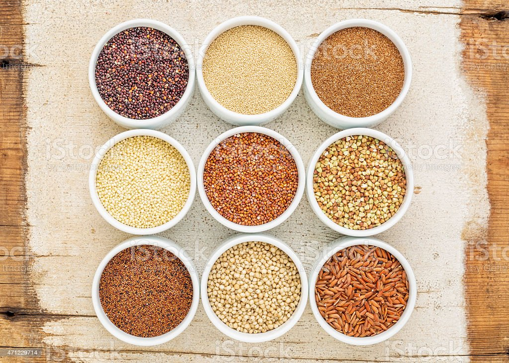 nine healthy, gluten free grains stock photo