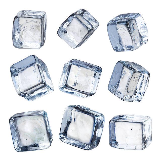девять отдельных площадь кубики льда, изолированных с обтравка - лёд стоковые фото и изображения