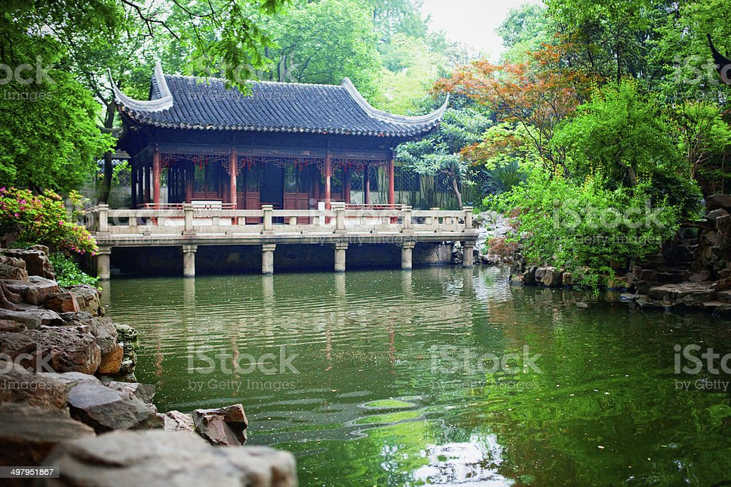 Nine Lion Pavilion at Yu Yuan Gardens in Shanghai, China stock photo