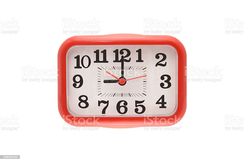 Nine O'clock Red Clock stock photo