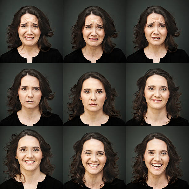 Nine picture collage of woman making many faces stock photo