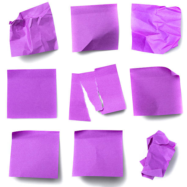 Nine Purple Post-It Notes some crumpled or torn stock photo