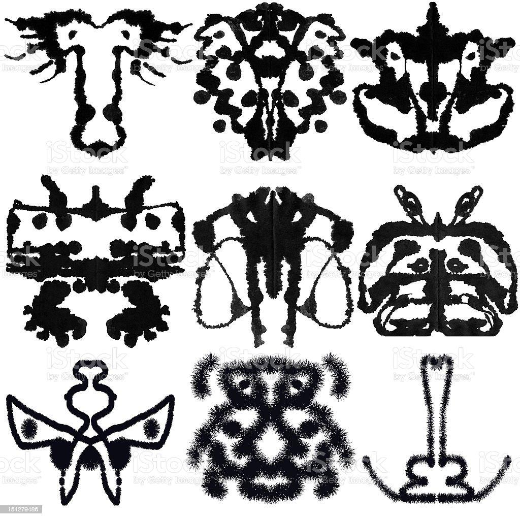 Nine Rorschach Test stock photo