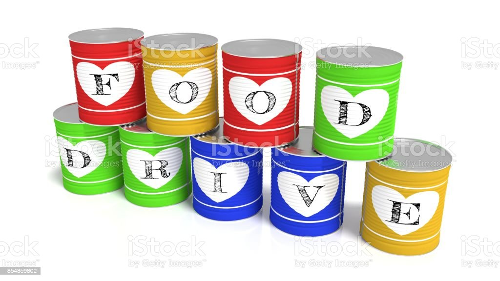 Nine stacked tin cans in different colors charity concept stock photo