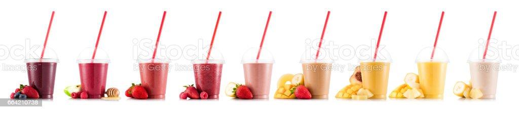Nine tastes of smoothie in plastic stock photo