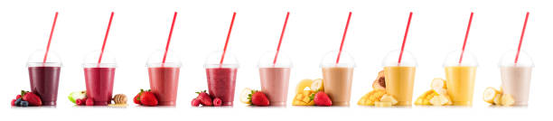 Nine tastes of smoothie in plastic stock photo