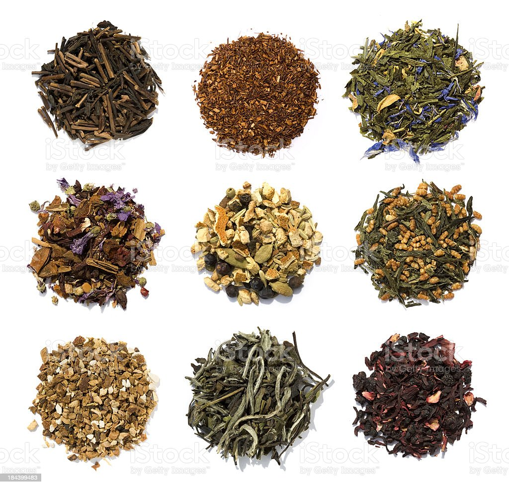 Nine teas stock photo