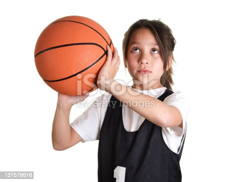 istock Nine Year Old Girl Basketball Player Ready to Shoot 137579516