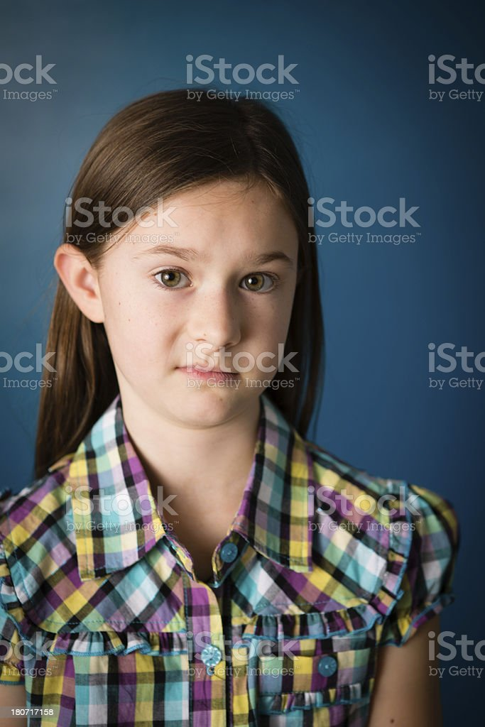 Nine Year Old Girl With Disgusted/Skeptical Look on Face royalty-free stock photo