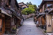 Empty street in Higashiyama, traditional district in Kyoto
