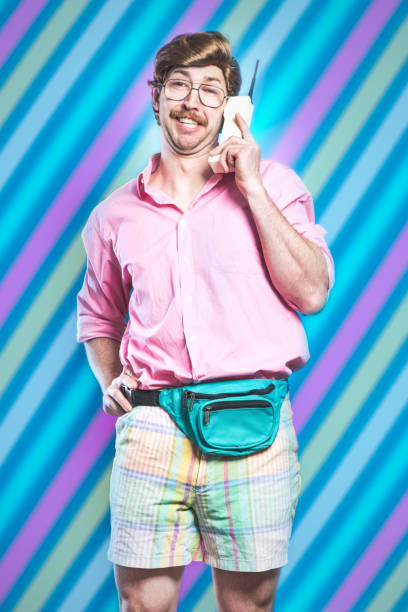 nineties tech and fashion style man - 1990s style stock photos and pictures