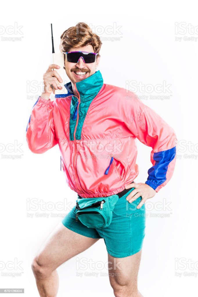 Nineties Tech and Fashion Style Man stock photo