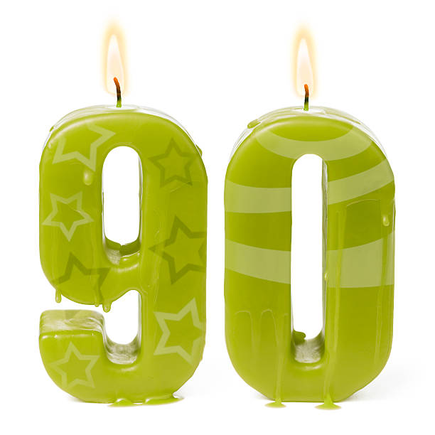 ninetieth 90th birthday or anniversary candles - number 90 stock photos and pictures