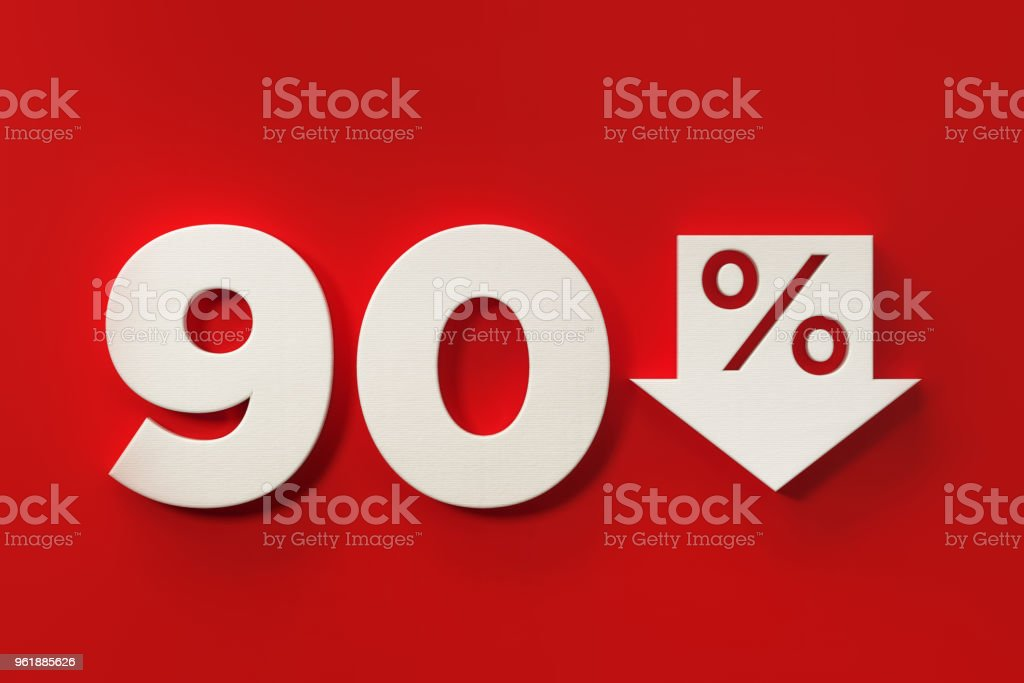 Ninety Percent Off Discount Symbol On Red Background stock photo
