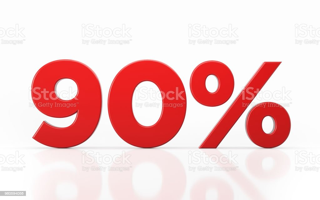 Ninety Percent Off Discount Symbol stock photo
