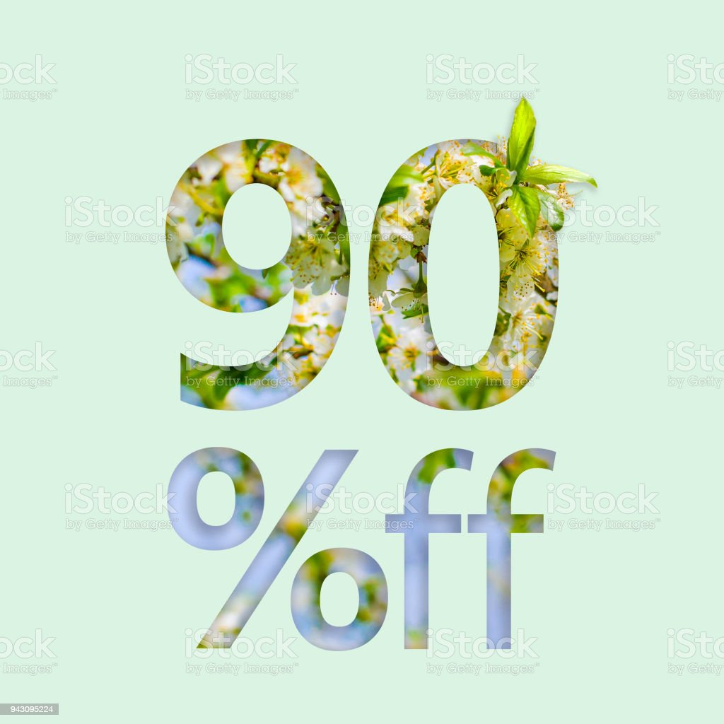 90% ninety percent off discount. The creative concept of spring sale, stylish poster, banner, promotion, ads. stock photo