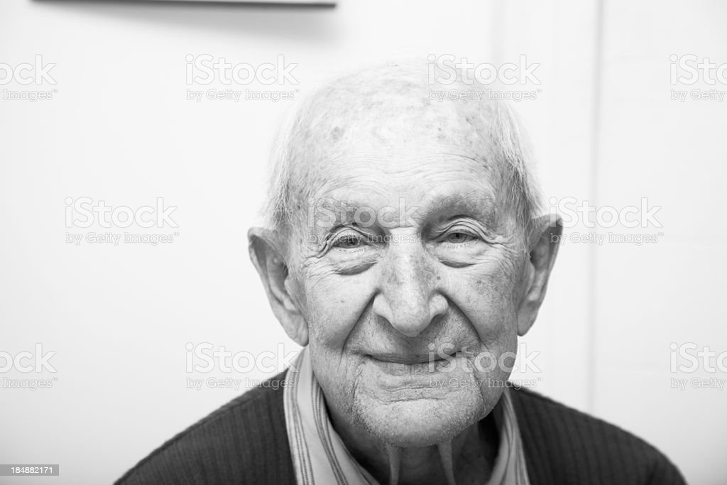 Ninety year old senior male - monochromatic stock photo