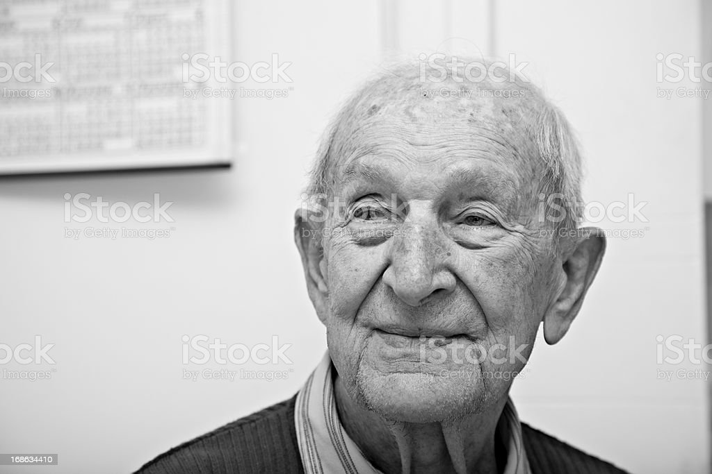 Ninety year old senior male portrait stock photo