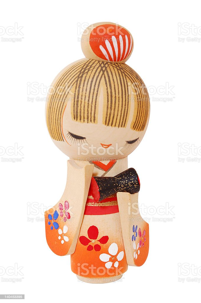 Ningyo - Decorative Japanese Doll (with clipping path) stock photo