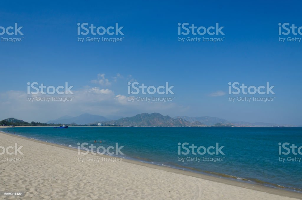 Ninh Chu beach at Phan Rang - Thap Cham, Ninh Thuan. Ninh Thuan is a new destination of Vietnam. stock photo