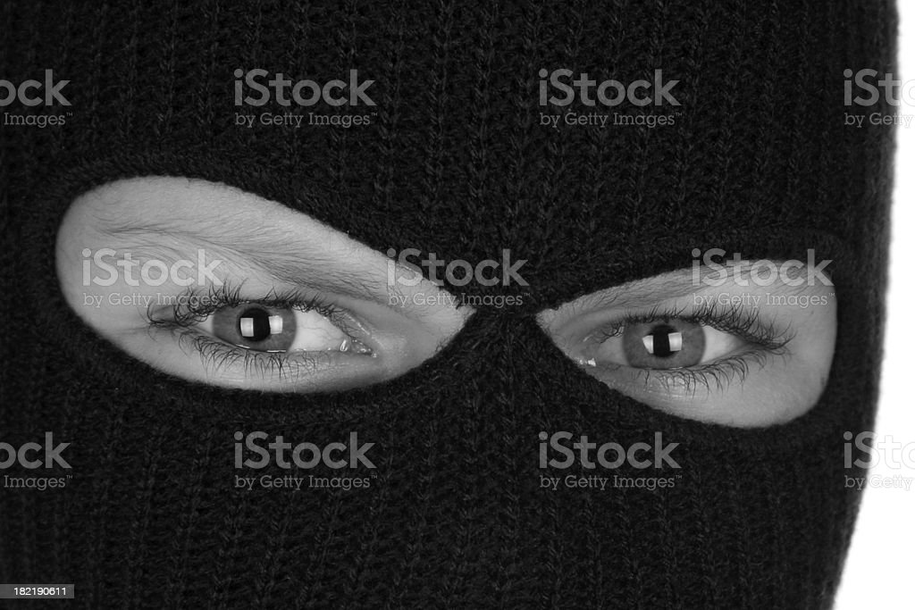 Ninja Eyes Black and White Mask stock photo