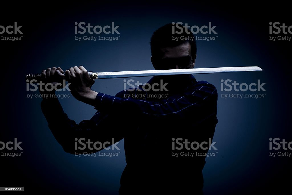 Ninja in the Dark (colour) stock photo