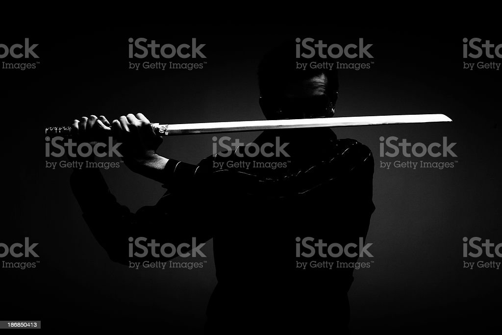 Ninja in the Dark stock photo