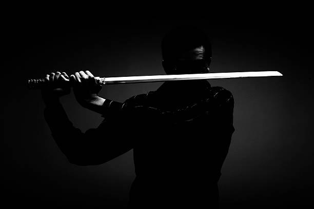 Ninja in the Dark stock photo