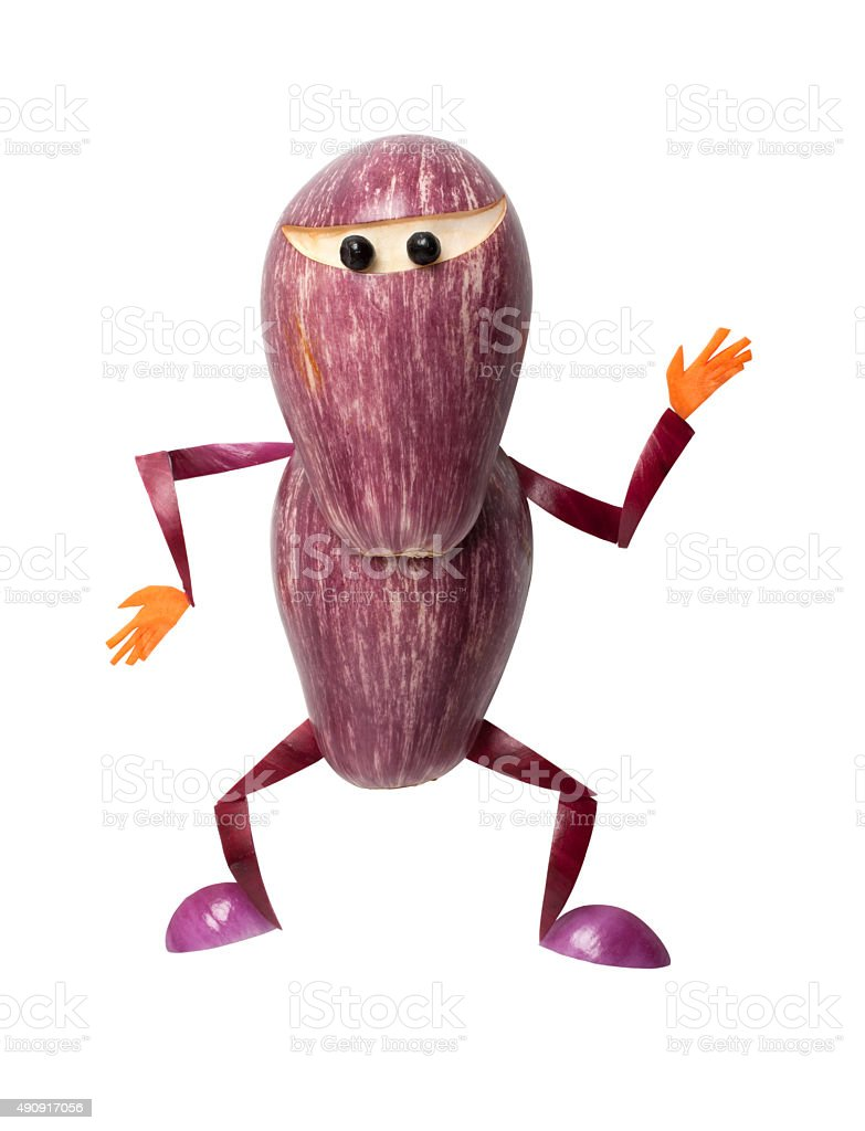 Ninja made of eggplant stock photo
