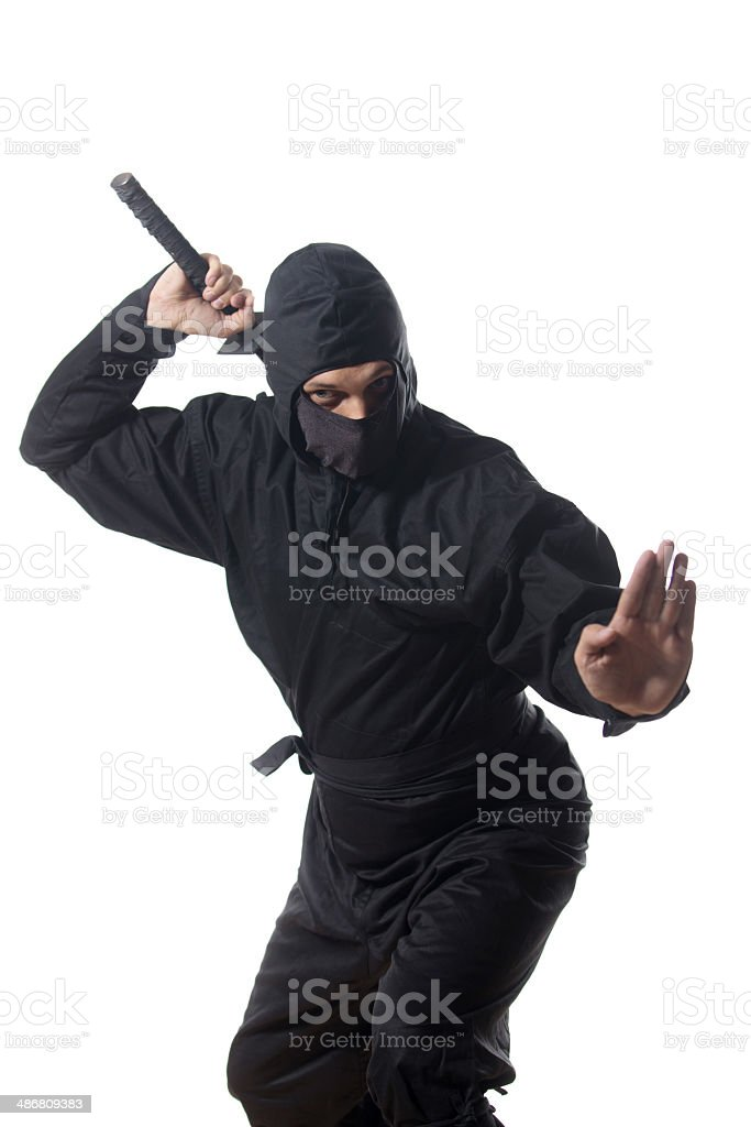 Ninja pull out the sword on white stock photo