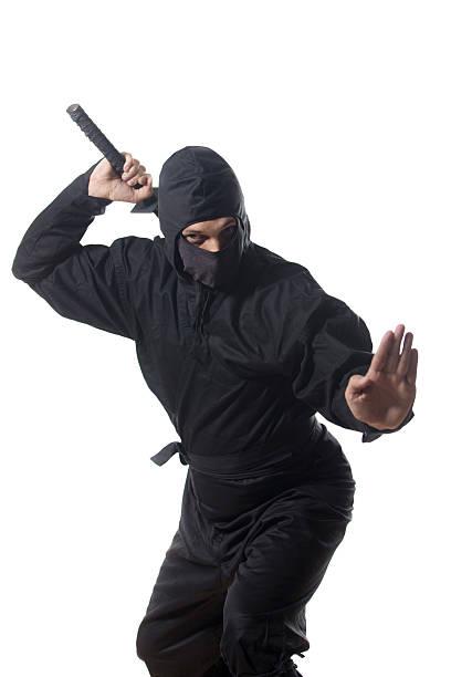 ninja sofá la espada, en blanco - ninja fotografías e imágenes de stock