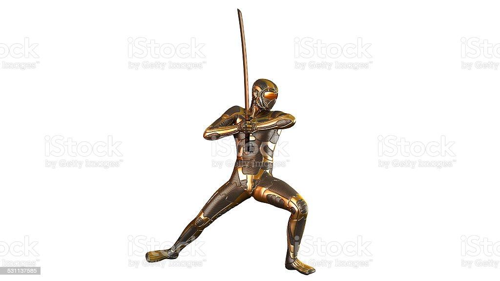 Ninja warrior in gold armor stock photo