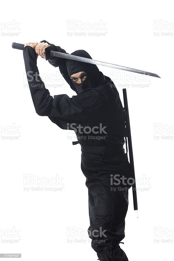 Ninja with sword on white stock photo