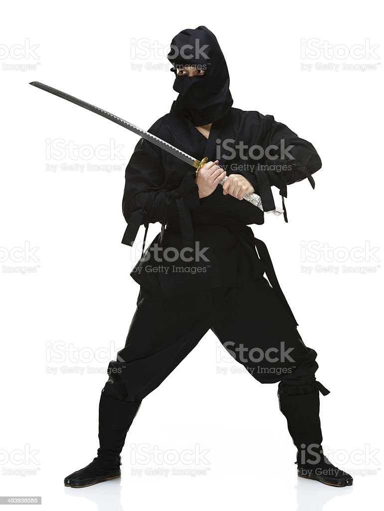 Ninja with sword stock photo
