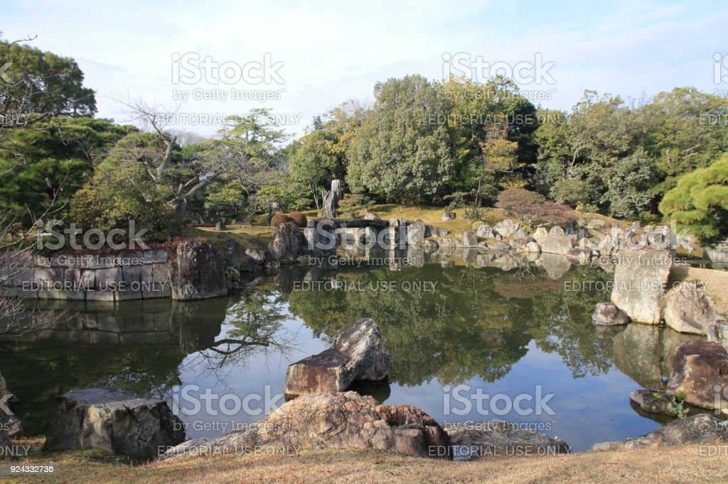 Ninomaru garden of Nijo castle in Kyoto, Japan - Stock image .