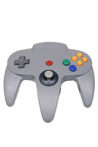 Nintendo 64 Controller Adelaide, Australia - February 23, 2016: A studio shot of a Gray Nintendo 64 controller,isolated on a white background. A popular game console sold by nintendo worldwide between 1996 and 2003. nintendo stock pictures, royalty-free photos & images