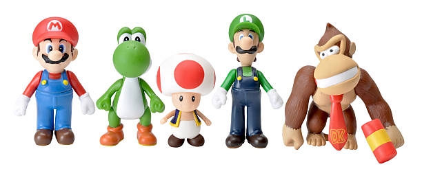 nintendo characters Forest Row, East Sussex, UK - july 5th 2011: Nintendo characters shot in home studio on white then cut out and placed into one image nintendo stock pictures, royalty-free photos & images