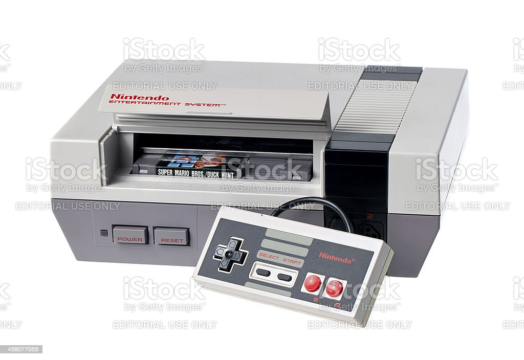 Nintendo Entertainment System with Controller and Game stock photo