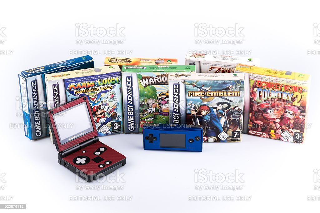 Nintendo gameboy advance with games stock photo